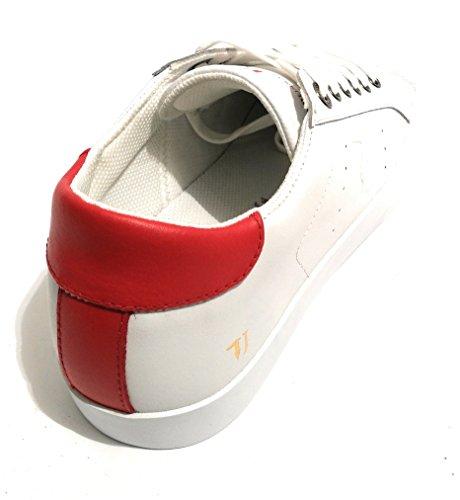 Trussardi Jeans Basic, Sneaker a Collo Basso Uomo Bianco/ Rosso