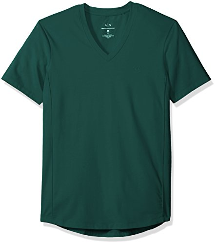 A|X Armani Exchange Men's Cotton Spandex V Neck Front Chest Logo Side Piping, Evergreen X-Large - T-shirts Armani Green Mens