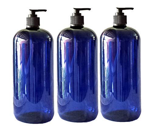 - 32 oz Blue Plastic PET Plastic Bottle with Black Hand Lotion Pump or Trigger Spray and Kraft Labels 3/pk