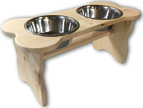 (Good Wood Primitive Bone Shaped Pine Wood Dog Bowl Stand for Medium, Large Dogs Rustic Natural, Wooden Feeder Dish Holder Unfinished)