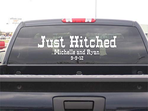 (Personalized Just Hitched Western Wedding Truck Decoration Vinyl Lettering Decals Stickers)