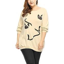 Agnes Orinda Women's Plus Size Cats Print Raglan Sleeves Slouchy Tunic Top Beige 2X