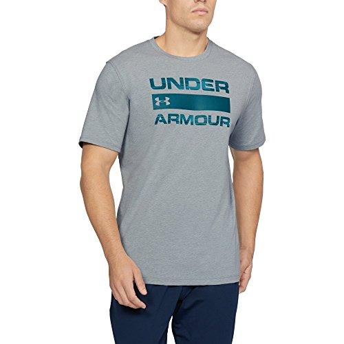 Under Armour Men's Team Issue Wordmark T-Shirt, Steel Light Heather /Tourmaline Teal, Small