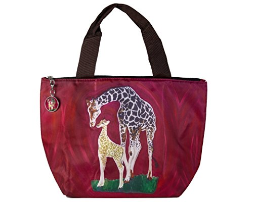 Reusable Lunch Bag, Lunch Tote with Matching Bag Charm - Animals, Full Insulated by Salvador Kitti. Portion of Purchase goes to Wildlife Conservation (Giraffe - Full Circle)