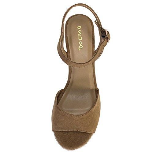 Espadrille Sandale Compensée En Bambou Pour Femme Avec Sangle Quart Camel Faux Suède