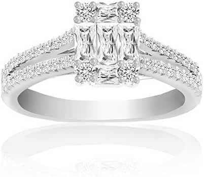 Ladies Ring Silver Tone Rhodium Plated Brass Baguette and Round CZ with Pave Setting Mia Sarine