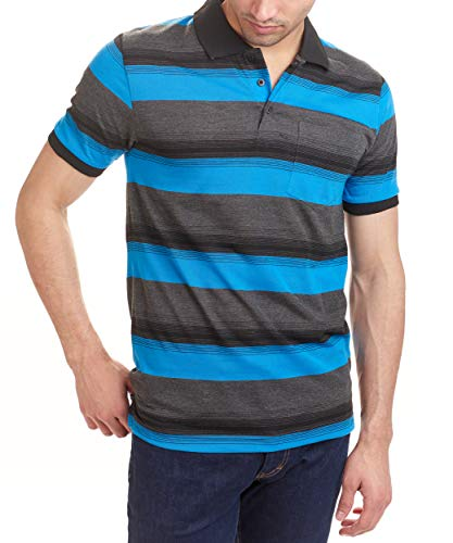 Hillcrest Men's Short Sleeve Regular Fit Polo Shirts with Stripe (Large, Blue, Gray, and Black Stripe)
