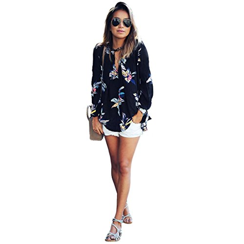 Gillberry Womens Floral Printing Loose Long Sleeve Chiffon T Shirt Blouse Tops (XL, Black)