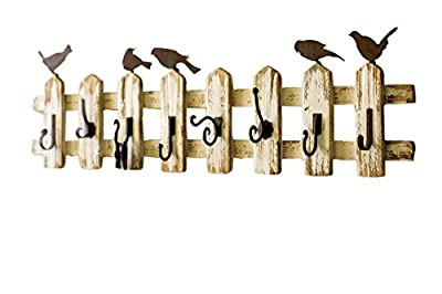 Kalalou White and Brown 15-Inch Picket Fence Coat Rack with Eight Different Hooks