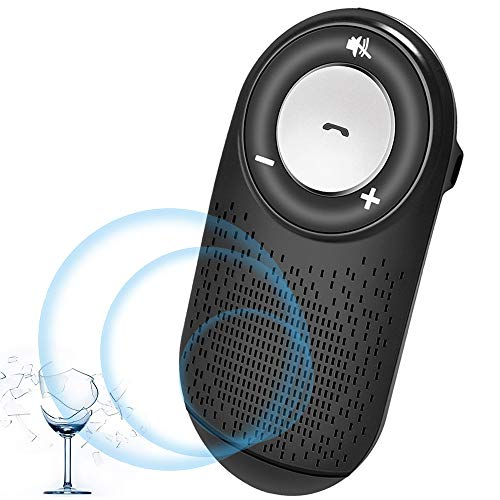 Aigital Bluetooth Handsfree Car Speaker Kit, Wireless Bluetooth in-Car Speakerphone and HD Sound for Handsfree Calling, AUTO Power ON Function/Music Play, Supports Siri and Google Assistant - Black