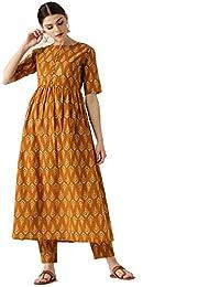 4163f68c7de Leda Yellow Indian Pakistani Kurtis Dress with Plazzo Ethic Kurta Set