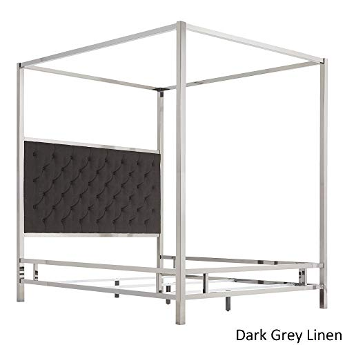 Inspire Q Solivita Chrome Metal Canopy Bed with Tufted adboard by Bold Charcoal Queen