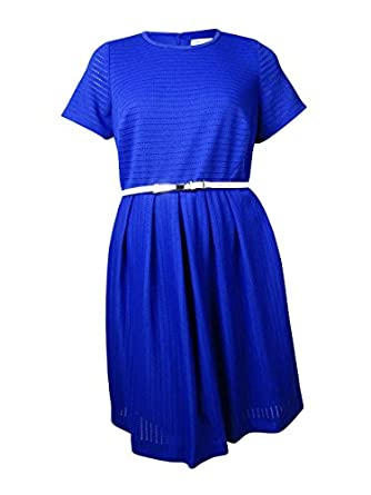 Calvin Klein Women S Short Sleeve Belted Fit And Flare