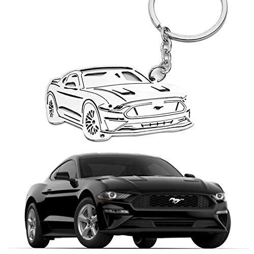 304 Stainless Steel 3D Keychain Key Chain for Ford Mustang Accessories Custom Performance Muscle Car Keyring Parts