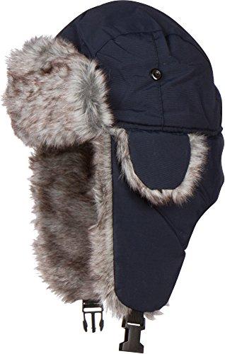 Sakkas JAFurNylon71891J Unisex All Weather Nylon Faux Fur Lined Trooper Hat - Navy