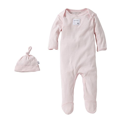 Burt's Bees Baby Baby Organic Lap Shoulder Coverall and Knot Top Hat Set, Blossom, 0-3 Months