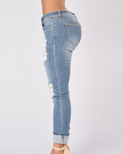Droit Femme Jeans Pantalons Longue Clair Slim Dchirs Pantalon Bleu Stretch En Pantalons EEYBqarO