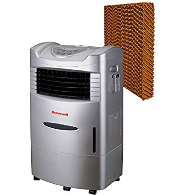 Honeywell 470 CFM Indoor Evaporative Air (Swamp Cooler) with Remote Control in Silver with Bonus Replacement Filter, Gray