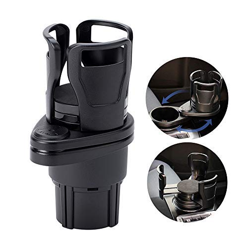 UMISKY Car Cup Holder Expander Adapter, 2 in 1 Multifunctional 2 Cup Mount Extender with 360° Rotating Adjustable Base to Hold Most 17oz - 20 oz Bottles Drink Coffee up to 5.9