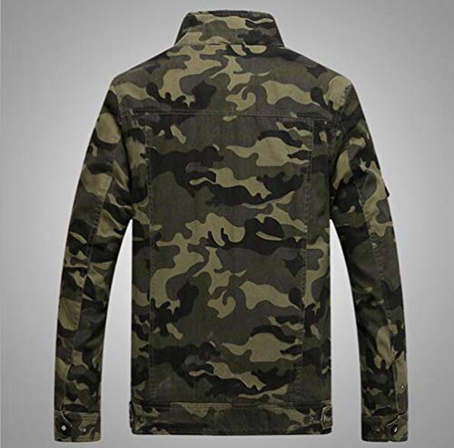 Casual Vert Yuandiann Militaire Brodé Col Manteau Outerwear Taille Style Aviator Automne Hiver Grande Camouflage Veste Bomber Homme Montant Brassard Multi poche WYFYv0rR