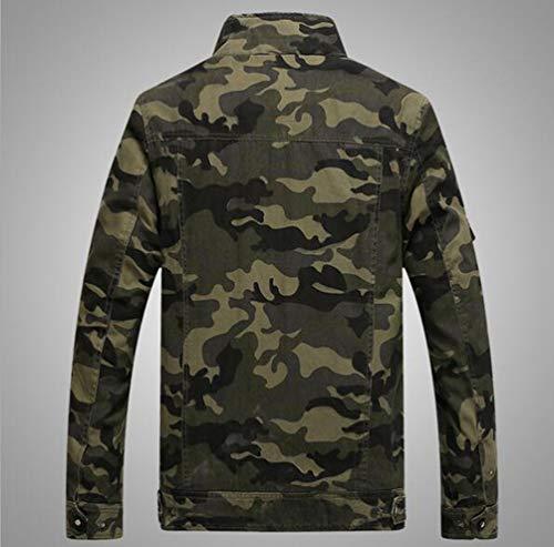 Yuandiann Manteau Montant Homme Bomber Militaire Camouflage Col Outerwear Automne Casual Style poche Hiver Brassard Veste Taille Multi Aviator Grande Vert Brodé rAwrU7q