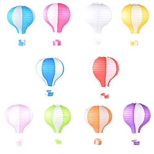 Sundlight 10Pcs/Set Rainbow Foldable Hot Air Balloon Paper Lantern Birthday Party Wedding Decoration 12