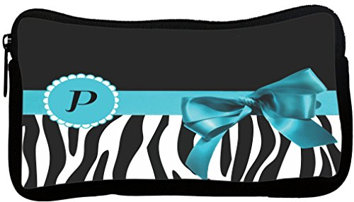 Zebra Monogram - Rikki Knight Letter P Sky Blue Zebra Bow Monogram Neoprene Pencil Case (dky-Neo-pc41684)