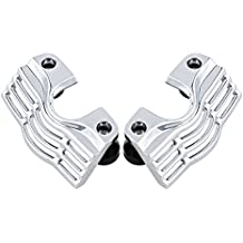 Chrome Finned Slotted Head Bolt Spark Plug Covers For 1999-2014 Harley Electra Street Glide Road King