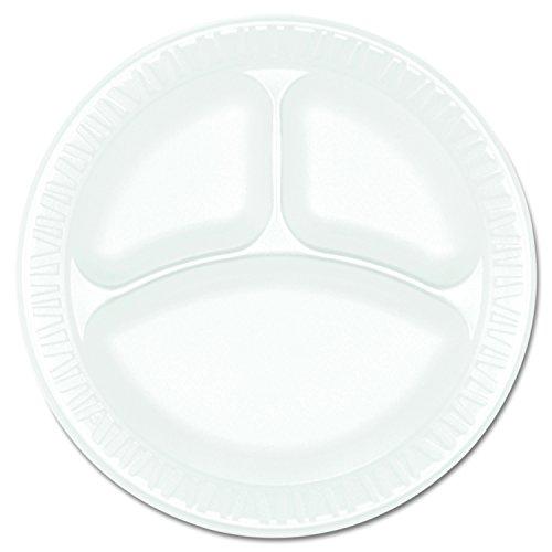 Non Foam Dinnerware Laminated (Dart 9CPWCR Concorde Foam Plate, 3-Comp, 9