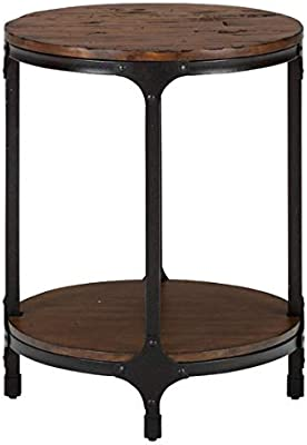 End Table Pine Top - Steel Frame End Table - Brown