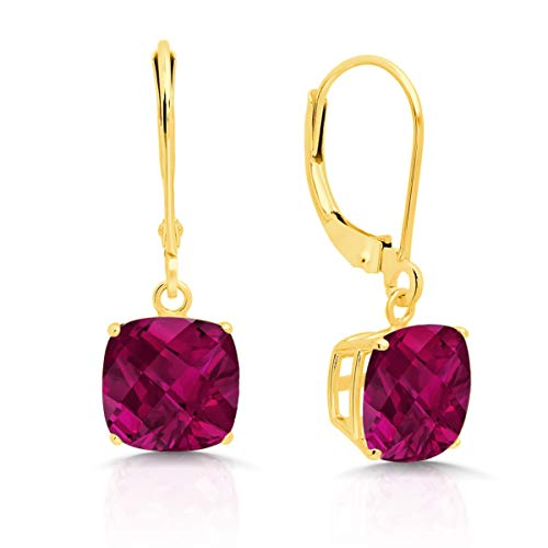 14k Yellow Gold Created Ruby Dangle Leverback Earrings (8mm)
