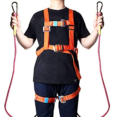 """viavia 78.74"""" Outdoor Rock Climbing Safety Rope Full Body Escape Safety Survival Fire Rope Rescue Hiking Ropes Carabiner Rappelling Equip Safety Harness"""