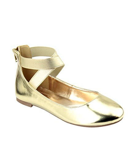 ANNA Dana-20 Damen Klassische Ballerinas mit Elastic Crossing Straps Gold