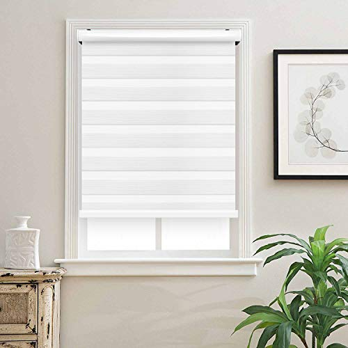 Cordless Zebra Roller Blinds Sheer Shades/Free-Stop Combi Blinds, Dual Layer, Sheer or Privacy – White, 70″ W X 72″ H