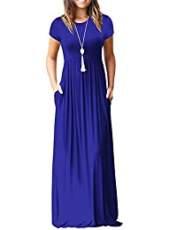 Freemale Womens Short Sleeve Crewneck Long Dresses Casual Long Maxi Dress with Pockets