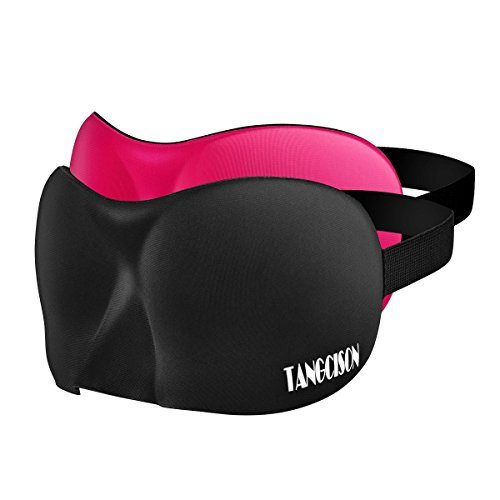 TANGCISON Eye Mask Sleep Mask, 2 Pack 3D Eye Mask for Sleeping, Bamboo and Cotton Material Eyeshade, Sleep Eye Mask With Adjustable Strap for Women and Men (Black and Rose Red)