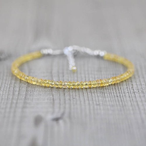 (JP_Beads Padparadscha Sapphire Beaded Bracelet in Sterling Silver, Rose Or Gold Filled Filled Filled. Dainty Yellow Gemstone Stacking Bracelet. Delicate Jewellery 2.5 to 3mm)