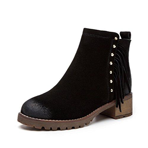 Zip Talon Bloc Demi Suédé 36 Botte Chelsea Automne Hiver Frange Noir Mode Femmes Chaussures Boots Classique 8qw0YEp