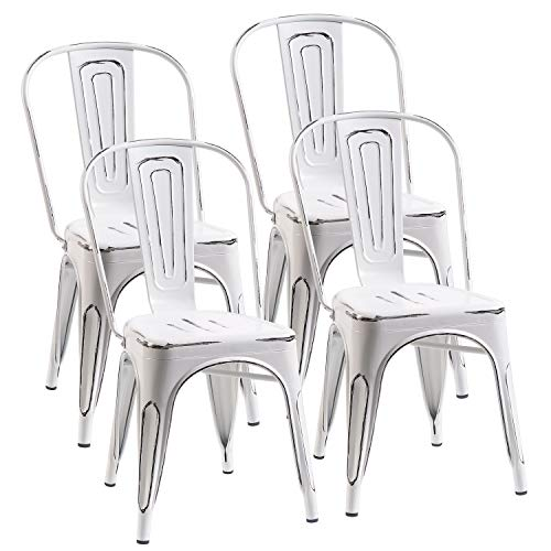 Merax PP187758KAA Metal Dining Chair, Antique White For Sale