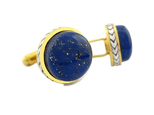 Elite & Luck Lapis Lazuli Sterling Silver Cufflinks, 18K Yellow Gold & Rhodium plated, Limited (Gold Lapis Cufflinks)