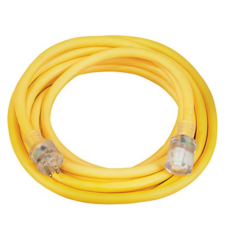 Coleman Cable 02687 10/3 Vinyl Outdoor Extension Cord with Lighted End, 25-Foot by Coleman Cable