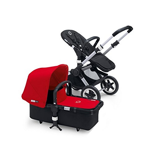 Bugaboo Buffalo Stroller Bundle, Aluminum Base with Red Tailored Fabric Set