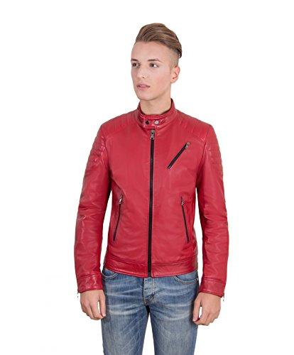D'arienzo Giacca U411 Spalle Effetto Trapuntata In Pelle Colore • Rosso Biker Nappa Liscio nBqFXdwxqC