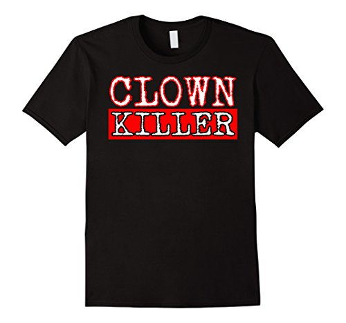 [Mens Clown Killer Easy Halloween Costume Scary T-Shirt 2XL Black] (Current Halloween Costume Ideas)