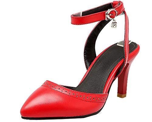 Couleur Cuir Rouge AgooLar PU à GMBLB015193 Talon Boucle Femme Haut Sandales Unie F1nxZS