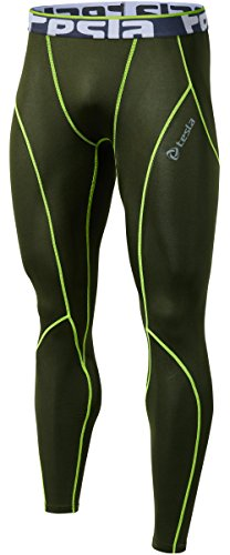 TM-P16-OLCZ_X-Small j-S Tesla Men's Compression Leggings Baselayer Cool Dry Sports Tights Pants P16