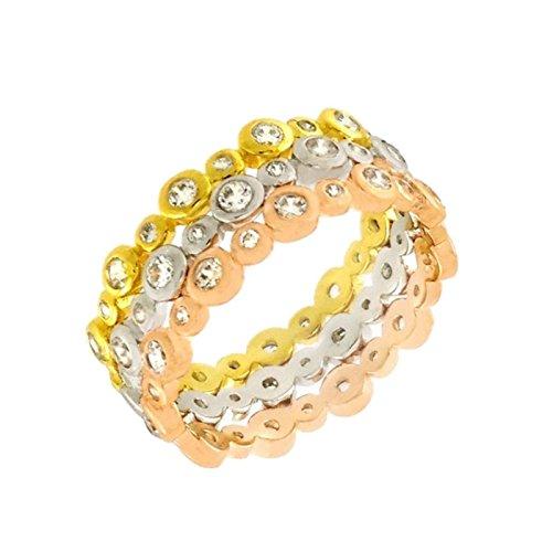 Triple Band Tri Color Stackable 9 mm wide Ring Designer 925 Silver Designer Tri Color Ring