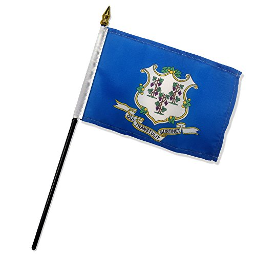 Quality Standard Flags One Dozen Connecticut Stick Flag, 4 by 6
