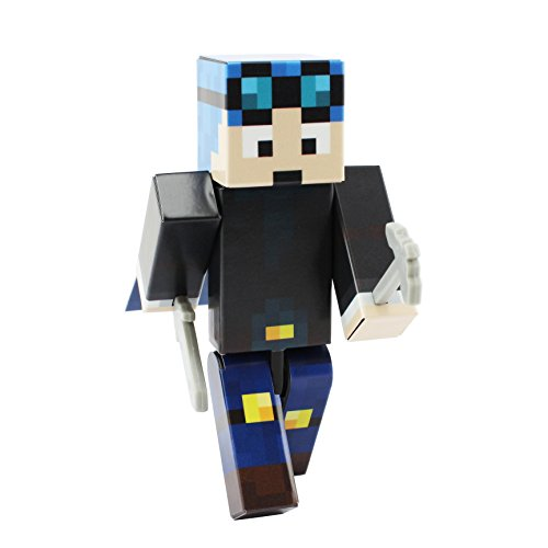 EnderToys Blue Hair Miner Boy Action Figure Toy, 4 Inch Custom Series Figurines [Not an Official Minecraft Product] (Pat And Jen In Real Life Videos)