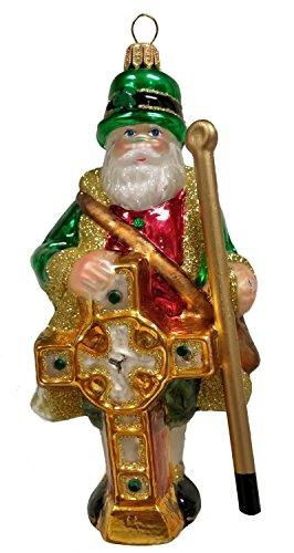 Irish Santa Claus with Celtic Cross Polish Glass Christmas Ornament Ireland (Christmas Cross Celtic Ornament)